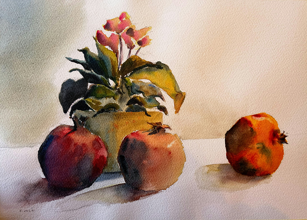 Pomegranates with Cyclamen