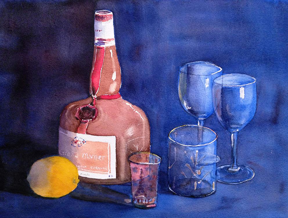 Aperitif in Blue with Lemon