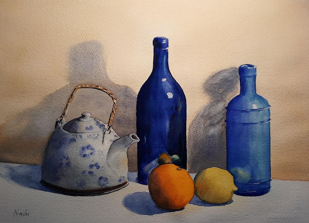 Blue Bottles, Teapot and Fruit