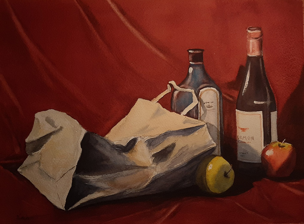 Composition with Paper Sack, Bottles and Fruit
